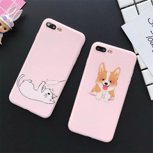 Soft pink TPU frosted shell for iphone 6 6s plus 7 plus phone cases lovely cartoon Corgi dog pattern back cover cases