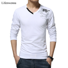 T Shirt Men Long Sleeve New Fashion 2017 Print Spring Men's Brand Clothing Casual Slim V-neck Cotton T shirt Homme Tees M-5XL