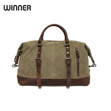 Vintage Military Canvas Leather Big Duffle Bag Men Travel Bags Carry on Traveling Luggage bags Large Road Weekend Bag Tote Men(China)