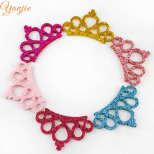 30pcs/lot 45mm Glitter Felt Crown For And Kikds DIY Headband Hair Bow Girls Boutique Hair Accessories(China)