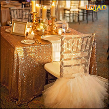Rectangular Sequin Tablecloth 90x156 inch Gold/Silver Classy Vintage Garden Wedding Sequin Table Cloth,Support Customized Size
