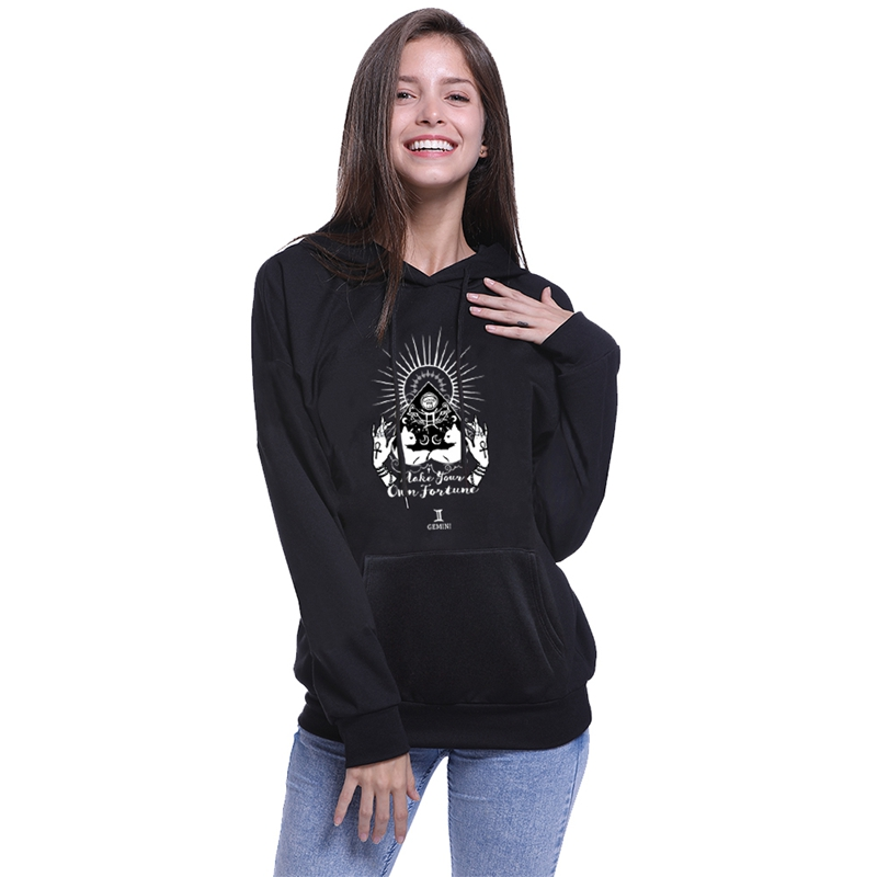 Constellations Hoodies Women Aquarius Pisces Aries Hooded Tops Female Long Length Pullover Sweatshirts S-XL