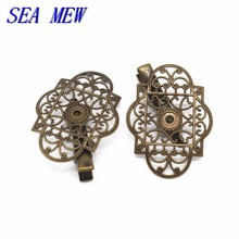 SEA MEW 30PCS 30*45mm Hollow Out Flower Base Hairgrips Silver Antique Bronze Hair Clip Setting Copper Sheet For Jewelry Making(China)