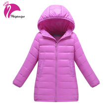 New Brand 2017 Kids Girls Winter Jacket Fashion Lightweight Outwear Kids Warm Long Coat Hooded Down & Parkas Children Cloting