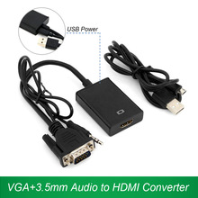 VGA+3.5mm Audio to HDMI Converter VGA HDMI Adapter with USB Power Supply 1080P for laptop PC to TV Projector Display Monitor