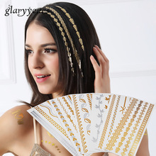 1 Piece Hot Flash Leaf Bracelet Gold Metallic Tatoo HT200 Temporary Sexy Women Hair Wrist Body Art Jewelry Tattoo Sticker Design