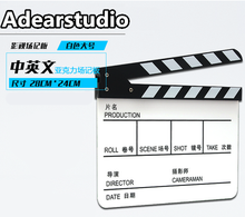 Acrylic Clapboard 28x24cm Dry Erase Director Film Movie Clapper Board Slate - White NO00DC