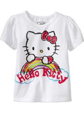 Lowest price 2015 girls 100% cotton t shirt hello kitty flower short sleeve t-shirt for kids baby girl clothes kids clothes