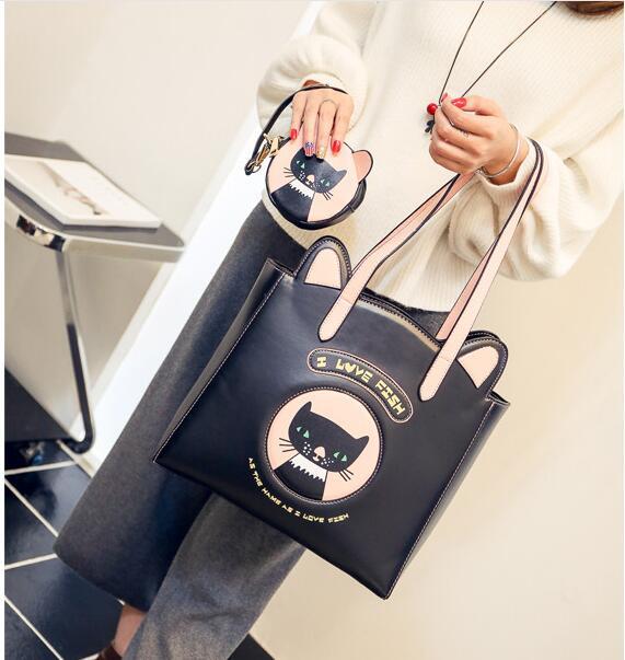 2018 Hot New Fashion Women Female Cute Kitten Printed Zipper Composite Bag Casual Handbags Shoulder Bags Messenger Bag<br>