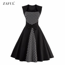 Zaful plus size s ~ 4xl preto sem mangas polka dot botão de cintura alta do vintage dress big balanço rockabilly retro feminino vestidos