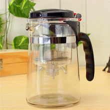 1PCS Heat Resistant Glass Tea Pot Flower Tea Set Puer kettle Coffee With Filter Infuser Straight 500ML detachable cup Office Tea