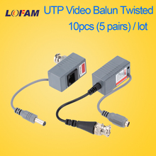 LOFAM 10pcs 5Pairs Video Balun Transceiver BNC UTP RJ45 With Video And Power Over CAT5/5E/6 Cable For HD CVI/TVI/AHD Camera DVR(China)