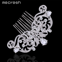 Mecresh Elegant Crystal Wedding Hair Jewelry Accessories for Women Cute Shape Silver Color Owl Eyes Bridal Hair Combs MFS116