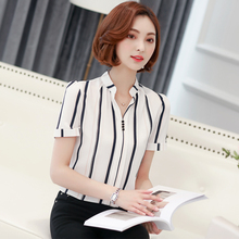 2017 Summer Chiffon Blouse Short Sleeve Casual Style Shirt Female White Tops Elegant Women Printed Office Shirt Blusas Femininas