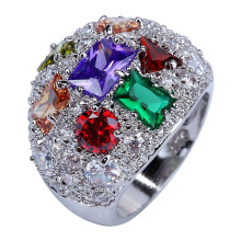 AAA CZ red Gems handmade Silver Plated Ring Size 8 10 fashion plated Jewelry wholesale(China)