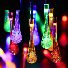 Rainbow Colors Water Drop Shape Solar Fairy String Light 4.8M 20leds Outdoor Garden Christmas Party Lighting Deco Lamp