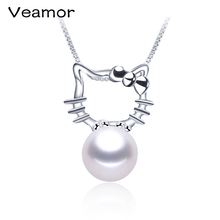 Hello Kitty Necklace Pendants Necklaces with Chain Sterling Silver Christmas Gift for Girlfriend Kids Pearl Jewelry Wholesale(China)