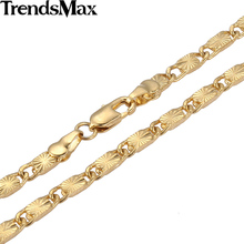 Trendsmax Cut Marina Link Yellow Gold Filled Necklace Fashion Womens Chain Girls Ladies  High Quality Jewelry GNM87
