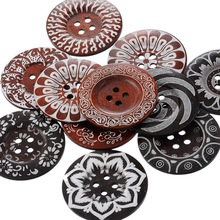 Hoomall 20PCs Mixed 6cm Flower Floral Wood Buttons for Sweater Overcoat Big Sewing Buttons Sewing Accessories 4 Holes(China)