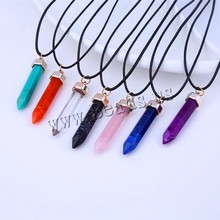 YYW 2017 Imitation Quartz Stone Pendant Pink Quartz Red Stone Pendulum Bullet Pendant Resin Created Gemstone Pendant Necklaces