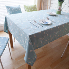 Embroidered TableCloth set dining table cloth set 6pcs/set 8pcs/set Table runner chair cushion cover polyester cotton light blue