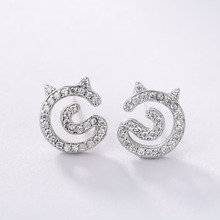 CHEGNXUN 925 Sterling Silver Bent Snake Chain Post Stud Earrings Cute Design Hypoallergenic Jewelry for Women Lady Girls