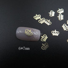 MS-358-2 Free Shipping Metal Gold 6*7mm Crown Nail Art Metal Sticker Nail Art Decoration Fancy Outlooking