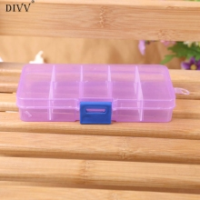 DIVV 10 Grids Happy Gifts High Quality Adjustable Jewelry Beads Pills Nail Art Tips Storage Box Case