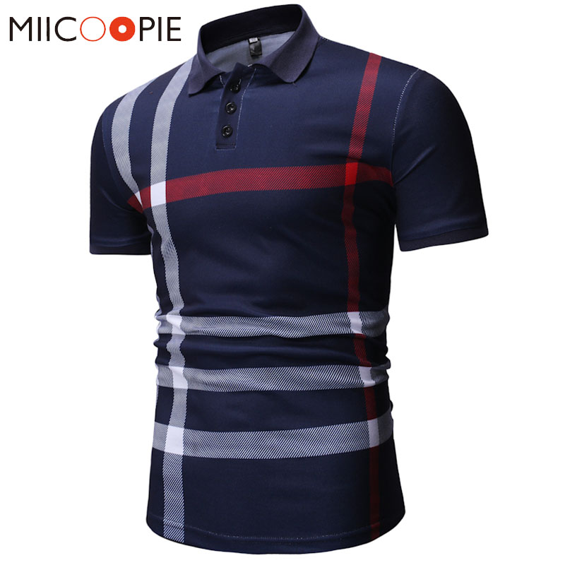 Summer Polo Shirt Men Fashion 2019 Classic Casual Plaid Printing Polo Homme Turn Down Collar Male Short Sleeve Polos Shirts(China)