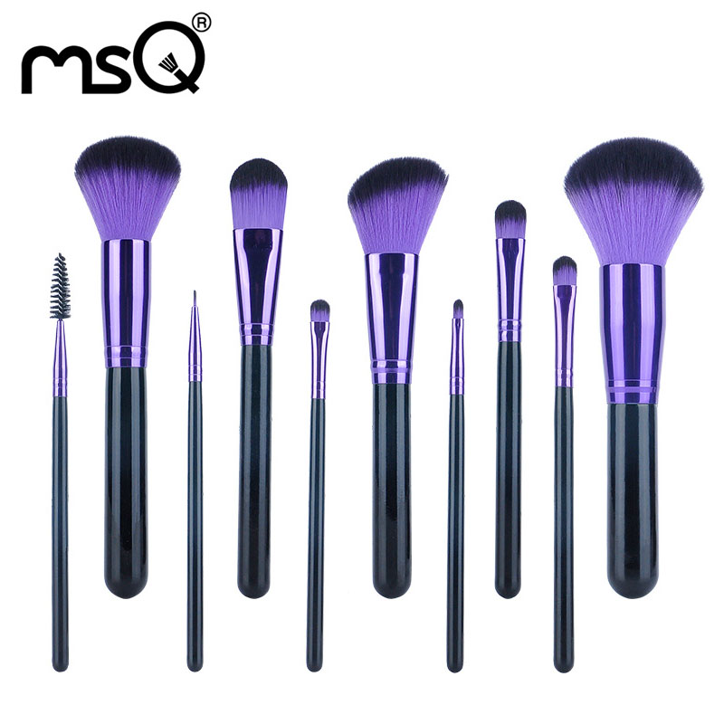 Purple Makeup Brushes Sets Makeup Brushes Face Powder Brush 11 PCs Professional Comestics Synthetic Hair Brushes Fashion Kit Hot<br>