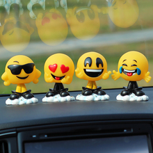 Cute Resin Funny Expression Shaking Head Dolls Car Decoration Ornaments Swinging Head Emoji Toys In Car Auto Decor Accessories(China)