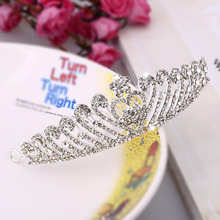 Wedding dress bridal jewelry accessories factory direct wholesale heart-shaped rhinstone crown bridal headdress plate made