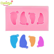 Delidge 1 pc Baby Feet Shape Cake Mold Silicone 3D Feet Fondant Chocolate Candy Jelly Decoration Fondant Mould Cute Foot Molds(China)