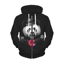 2016 Autumn Winter Coats Panda Digital Print Hoodies Women Zip-Up Hooded Sweatshirts Black Couple Clothes Sudaderas Mujer