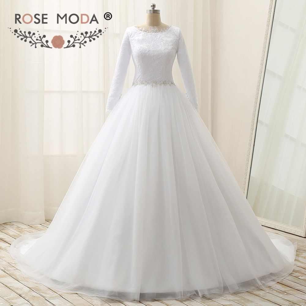 Rose Moda Long Sleeves Muslim Wedding Dress High Neck Lace Wedding Dresses  with Crystal Sash Plus 9f599664aa32