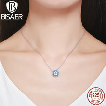 2017 NEW 925 Sterling Silver Bohemia Blue Rhythm Round Lucky God's Eyes Pendants Necklaces Jewelry ECN099(China)