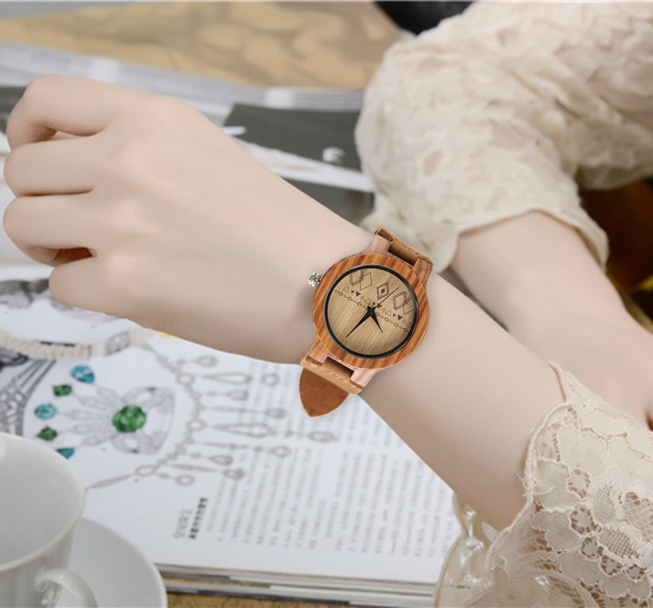 Top Gift Rhombus Dial Women Watch Creative Light Bamboo Wood Wristwatch Fashion Casual Clock Female Genuine Leather Ulzzang 2017 Christmas Gifts (15)