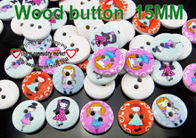 100PCS GILRS painting wooden buttons 15MM sewing clothes boots coat accessory MCB-971