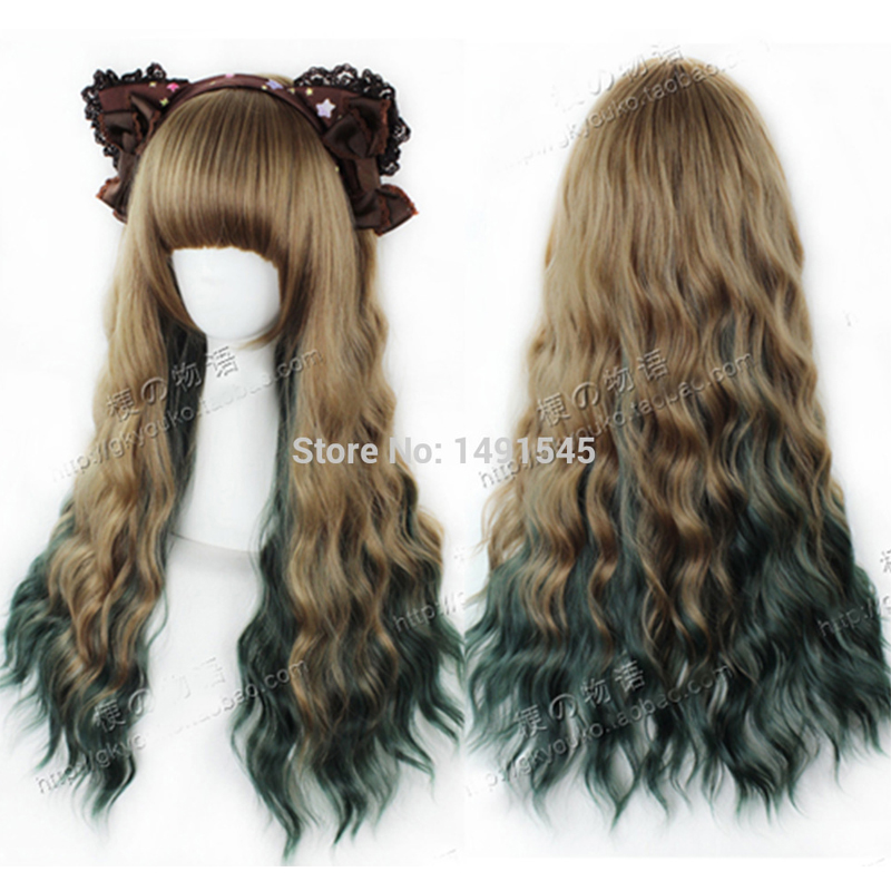 Factory Direct Sales Female Wig Harajuku Natural Wavy Curly Hair Brown Green Ombre Wigs anime Cosplay Costume WM0611661<br><br>Aliexpress