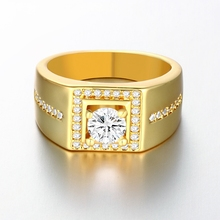INALIS brand luxury CZ zircon square designs engagement wedding gold men ring 2016 with zircon stone (US size 8,9,10)