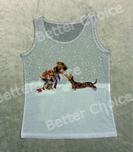 Track Ship+Vintage Printed Retro Cool Vest Tanks Tank Tops Grey Cold Day Naughty Boy with My Dachshund Dog on Snow Field 1101