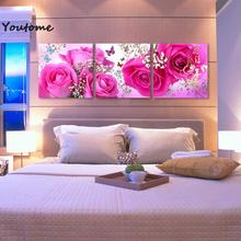 3 piece wall art flower abstract flowers paintings art canvas pink flowers wall pictures for living room flower floral wall art(China)