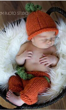 Newborn Photography Props, new Hand knitting baby hat,newborn pumpkin hat with pants / trousers baby sets size:0-1m,3-4m(China)