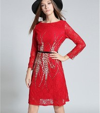 2017 New quality design red lace dresses women fashion summer holiday beach nice dress girls casual slim elegant clothing L #W47(China)