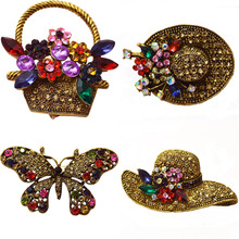 6 styles for choose vintage rhinestone peacock hat brooch antique  pins and brooches fashion bohe accessories