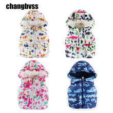 Cute Animal Printed Hooded Girls Boys Winter Vest Baby Coat Children's Vest,Kids Vest For Autumn Winter,Warm Comfortable Outwear(China)