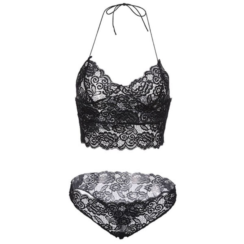 Sexy Lace Bra Set, Hollow Lace Transparent Temptation Underwear, French Style 7