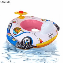 COZIME Inflatable Toys Baby Swimming Float Cartoon Motor Car Boat With Steering Wheel Raft Float Toys Swimming Pool Accessories(China)