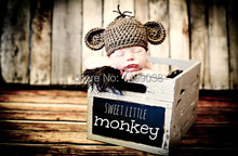 Handmade   Newborn Photo Prop Baby Monkey Hat