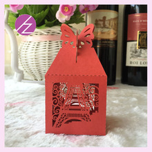 New Love Heart Laser Cut Eiffel Tower and butterfly seal shaped Gift Candy Boxes european wedding favor and gift box With Ribbon(China)